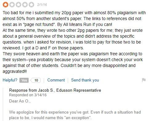 Customer feedback for Edusson service - Sitejabber screenshot