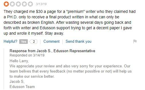 Dissapointed Edusson.com customer review - screen capture