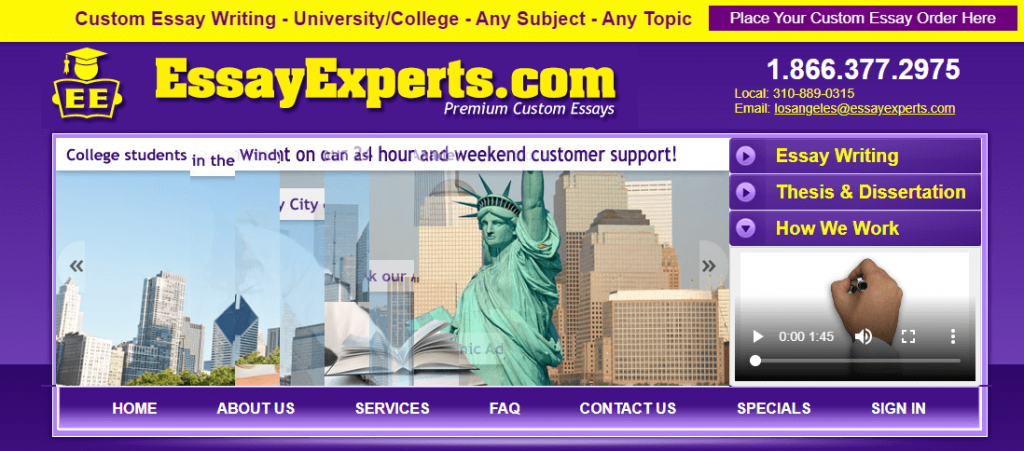 EssayExperts main page - screenshot