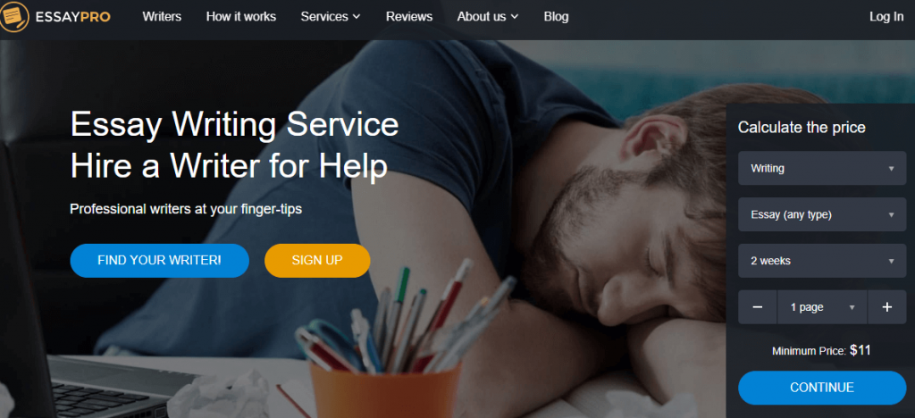 EssayPro services' homepage - image