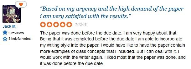 EssayWriter.org customer review - Sitejabber screen capture
