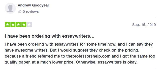 EssayWriter review by a Trustpilot user - image